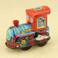 Wholesale Collectable Toy the s Vintage Classic Tin Metal Train Handmade Clockwork Wind Up Toy Mechanical Toy