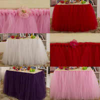 Cheap 2015 Pastoral Wedding Tutu Table Skirt 91.5 cm*80 cm Pink White Dark Purple Red Banquet Tulle Tutu Table Skirts for Party