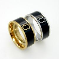 asian bearings - Black Enamel Bear Steel Rings Gold Plated L Stainless Steel Band Rings for Men and Women SR00767