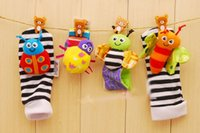 Wholesale Fashion New arrival baby rattle baby toys Lamaze plush Garden Bug Wrist Rattle Foot Socks Styles by dhl
