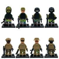 Wholesale New Decool Marine Corps SWAT Minifigures Figure Building Blocks Sets Bricks Toys For Children