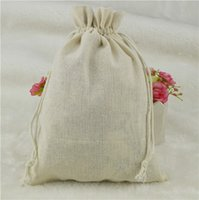 Wholesale Hot x23cm Pack of Jute Cotton Drawstring Bags for Favours Christmas Jewelry Packing Gift bag