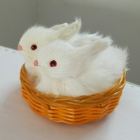 bamboo gift baskets - Piece Cute Simulation Bamboo Basket Rabbit Plush Dolls Kids Cute Plush Toys Christmas Gift