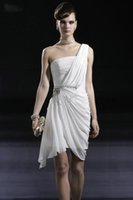 beautiful drapes - Backless Ruching Crystal Beaded One Shoulder Chiffon Sheath Dress Beautiful White Short Cocktail Dresses Party Dress Evening Bride Dresses