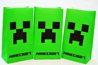 Wholesale Minecraft paper bags JJ blame Creeper popcorn bag MC party food bags cinema cookie container package cm shopping bag