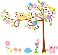 Wholesale wall sticker home decoration living room sticker CM Cute Owl Tree