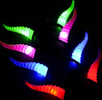 antelope horns - Colorful led horns glow flashing antelope horn christmas hair accessories light up toys party supplies led headband
