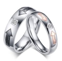 arrows symbols - Stainless Steel Arrow Rings for Couple Lovers Symbol Rings Men Women Wedding Band Valentines Gift