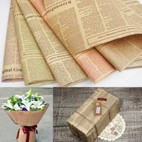 Wholesale New Vintage Letters Printing Kraft Paper Novelty Flowers Wrapping Paper Birthday Gifts Decoration Double Sides