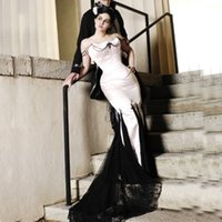 victorian dress - 2015 Victorian Gothic Wedding Dresses Mermaid Vintage Bridal Gowns Strapless Corset Beading Black Lace Appliques Tulle Sweep Train Garden