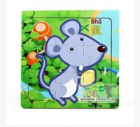 Wholesale Wooden jigsaw puzzle pieces of cartoon animals baby early lessons intelligence wooden toys for years baby
