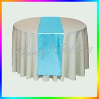 aqua runner - Pieces Aqua Blue quot x108 quot Satin Table Runners Table cover For Wedding Party Banquet Decoration