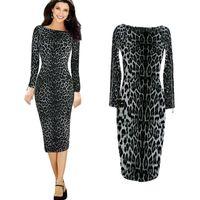 leopard print dress - Leopard print women summer dress novelty zipper on sleeve pencil dress new fashion sexy OL bodycon Dresses vestidos G0943