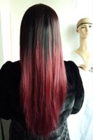 Wholesale Red Wig Long Synthetic Color Full Wig Cosplay Ombre Black to Red J Tone Straight Wavy Wig for Black Woman