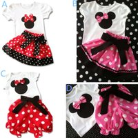 Wholesale Summer Baby Girl s Suits White T shirt Polka Dot Pants Skirt Toddlers Outfits Sets Outwear Minnie Mouse Bow Short Sleeved Garments