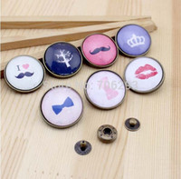 Wholesale Glass Nice Snap Buttons Fit Nice Bracelets bags cloth Round Mixed Pattern Painted mm