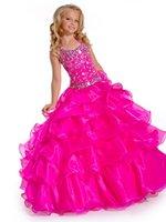 Wholesale 2015 Fuchsia Princess Girl s Pageant Dresses Ball Gown Halter Beading Crystal Organza Beauty Queen Girls Kids Formal Flower Girls Dress Gown