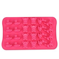 bear soap dish - 24 holes duck bear rabbit silicone cake molds D soap mold DIY cupcake baking dish jelly chocolate mold baking tools D745