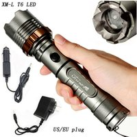 Wholesale Battery Included Ultra Bright CREE XM L T6 Rechargeable LED Flashlight Torch AC Battery Car Charger US Plug EU Plug