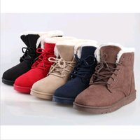 Wholesale New Woman s Flat Lace Up Fur Lined Winter Martin Boots Snow Ankle Boots Shoes US Size DH04