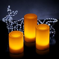 battery operated candles timer - 3 Flameless LED Candles Light with Remote Control Timer Pillar Candles Battery Operated HP098
