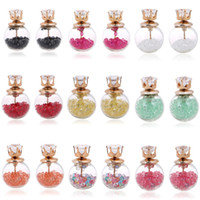 Wholesale 9 colors Transparent Hollow Glass Ball Earrings Double Side crystal bulb Hourglass inside zircon Stud Earrings For Women girls