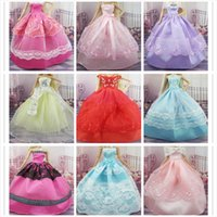 Wholesale For Barbies doll Items Dress Shoes Hangers Beautiful Gown Party Dresses Doll s Fashion Wedding Dress Clothes