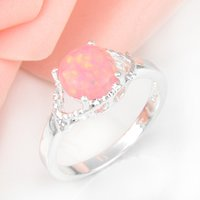 Cheap Wholesale 3 PCS LOT Wedding Jewelry Holiday Gift Newest Round Pink Fire Opal Gemstone 925 Sterling Silver Plated Ring