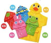 Wholesale 2014 NEW FIT CM Cartoon Kids Raincoats for Children Rainwear Blue Green Pink Red Yellow