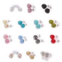 Wholesale Fashion Jewelry Crystal Stud Earrings SHAMBALLA AB Clay Disco Balls Crystal SBL Studs Earrings pairs Mixed Colors