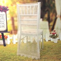 Wholesale 10Pcs Lace Embroidery Organza Chiavari Chair Covers Wedding Party Home Restaurant Banquet Decoration Ivory White Black