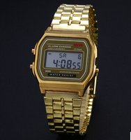 Wholesale Hot style A159W metal strap WR fashion with no label cold light gold and silver F91W ultra thin led digital watch