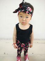 Cheap 2015 korean kids clothes headband+sleeveless+harem pants floral print three-piece suit children baby girl summer clothing 3pcs set