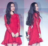Wholesale Runway Designer Luxury Brand Dress Women s High Quality Sleeve All Over Lace Knee Length Dress Black Red White