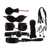 Wholesale 8pcs Sex Toys Handcuffs Gag Nipple Clamps Whip Collar Erotic Toy Leather Fetish Sex Bondage Restraint Sex Toy For Couples YQ5001 smileseller