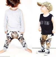 baby crawlers - 2015 INS Autumn Winter Printing Tiger Children s Boys Girls Clothing Leggings Tights Baby Harem Pants Children Pants Crawlers Free DHL