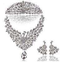 austrian crystal jewlery - 2015 Bridal Headband Clear Austrian Rhinestone Crystal Necklace Earrings Set Bridal Crown Tiara Wedding Jewlery Hot Selling