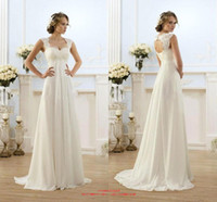 Wholesale 2015 New Sexy Summer Beach Empire Plus Size Maternity Wedding Dresses Cap Sleeve Keyhole Lace Up Backless Chiffon Pregnant Bridal Gowns