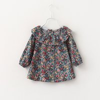 Wholesale Baby Girls Print Vintage Floral T shirts Kids Girls Spring Ruffle Collar Shirt Girl Fashion Classic Jumper Tops Babies Clothes