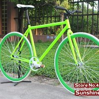 aluminum single speed frame - Fluorescent Green Frame cm and Rim with White Tyre X23C Complete Fixed Gear Bike Single Speed Bike FIXEE