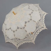 wedding umbrella - Bridal s umbrella white embroider beach umbrella wedding Parasols