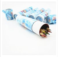 Wholesale Christmas gifts Frozen Elsa Anna Colour Pencil Students Painting Pens with paper Brush Pot Stationery container for children kids pupil