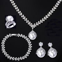 Wholesale New arrival s bridal jewelry sets with pearl white gold plate for wedding party pave setting AAA cubic zirconia