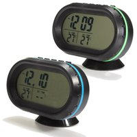 Wholesale 2014 NEW TOP Quality V Blue Green Vehicle LCD Digital Thermometer Car Voltmeter Monitor Malarm