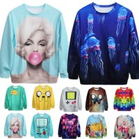 Cheap Fashion Women Hippie Boho Colorful 3D Cute Cartoon Print Loose Tee Hoodies Sudaderas Sport Pullovers Hoody Top Sweatshirt