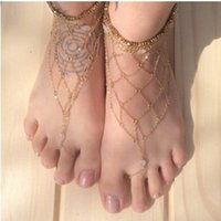 awesome rings - 2015 Fashion Bridal Feet Jewelry Handmade Gold Wedding Accessories Awesome Anklets Beach Barefoot Jewelry Boho Bridal Beading Accessories