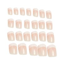 Wholesale 24pcs Pink False Nail Art Design Tips French Acrylic Salon Makeup Set Decorated Fake Nail Cover