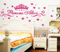 Wholesale Set Cartoon Princess Crown Stars Alice D Girl Nursery Room Decor Wall Decals stickers Mural cm in