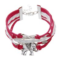 antique silver elephant - 2016 Antique Silver plated Elephant Charm Bracelet Wax Rope Leather Infinity Letter quot Where there s will there s a way quot LOVE Charm Bracelet