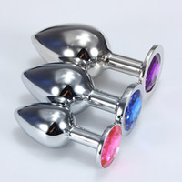 Wholesale Small Middle Big Sizes Stainless Steel Metal Anal Plug With Diamonds Plated Anal Dildo Sex Toys Butt Plug for Women x021